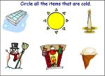 Circle the cold items – worksheet