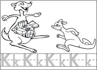 Kangaroo, letter Kk, writing and coloring page