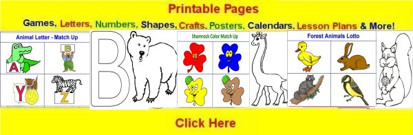 Toddler March curriculum includes  printable pages such as coloring pages, crafts, lesson plans, posters, calendars and craft patterns.
