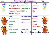 Daily Preschool Report – Daycare Form