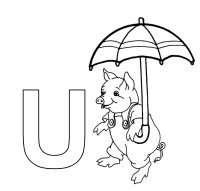 Learning Letters – Letter U Umbrella Coloring Page