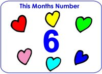 Toddler February Number Display To Hang ON Bulletin Board – Number Six 6 Display