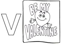Valentine Theme – Learning Letter V – Be My Valentine – Coloring Page